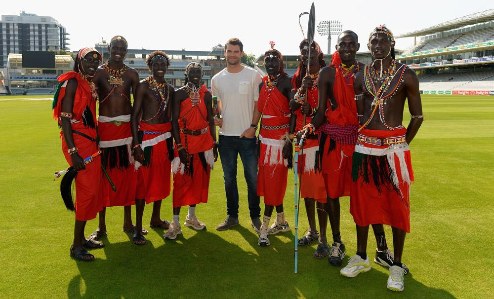 LONDON, ENGLAND - SEPTEMBER 04:  James Anderson of England poses for the camera as he meets the Maasai Warriors Cricket Team during the Last Man Standing Finals at Lords on September 4, 2013 in London, England.  (Photo by Christopher Lee/Getty Images)