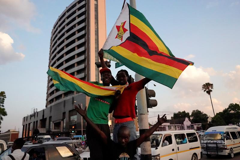Car horns blared and cheering crowds raced through the streets Harare as news spread that Mugabe had resigned after 37 years in power.