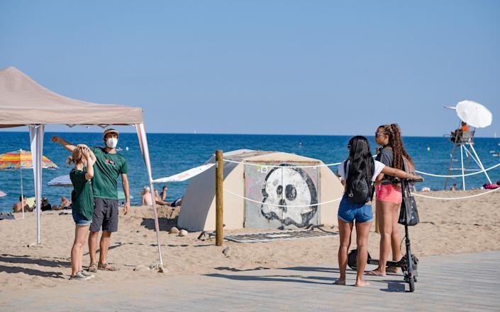 People are turned away from the beach yesterday - Getty