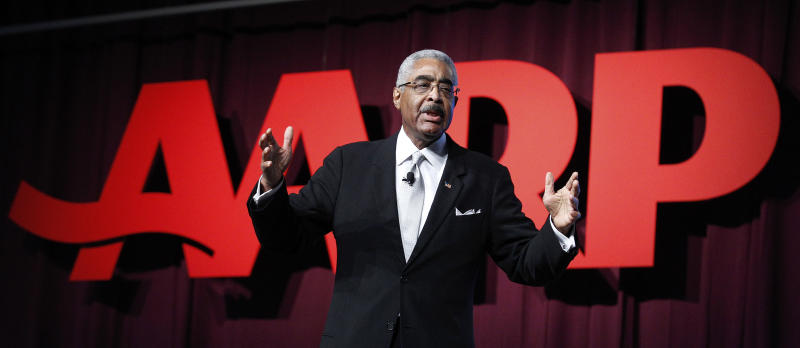 A. Barry Rand, AARP CEO, addresses the AARP convention, Friday, Sept. 21, 2012 in New Orleans. Republican vice presidential candidate, Rep. Paul Ryan, R-Wis. will address the group later. (AP Photo/Bill Haber)