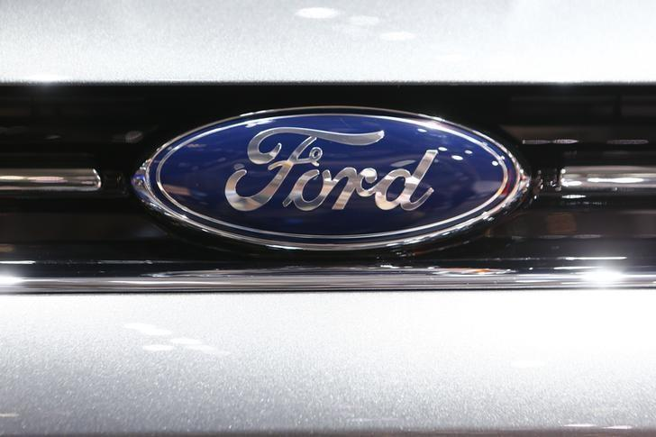 The company logo is seen on the bonnet of a Ford car during the media day ahead of the 84th Geneva Motor Show in Geneva