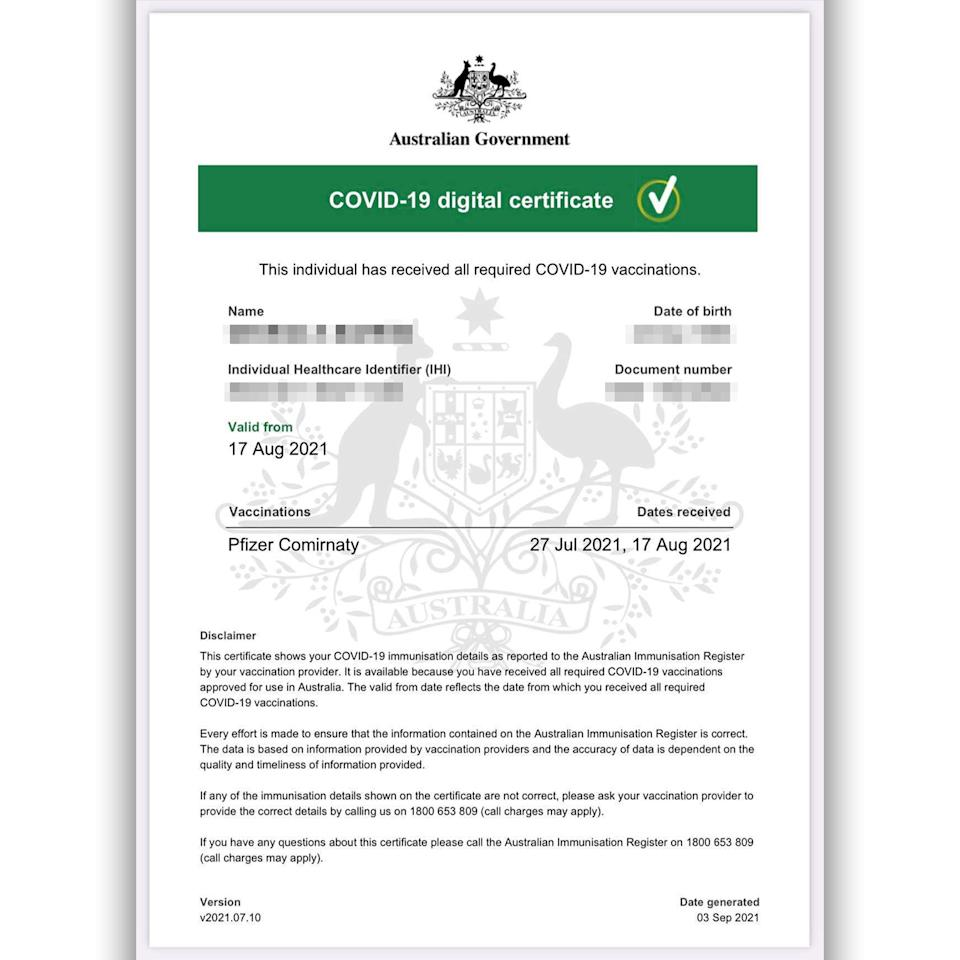 An example of the A4 Covid-19 digital certificate from the Australian Government.