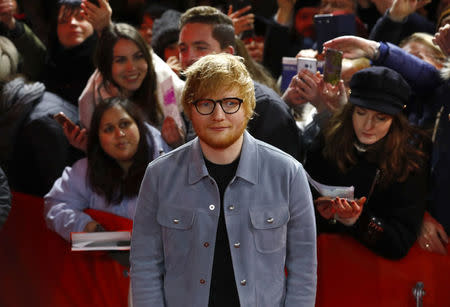 Ed Sheeran arrives for the screening of the movie Songwriter at the 68th Berlinale International Film Festival in Berlin, Germany, February 23, 2018. REUTERS/Fabrizio Bensch