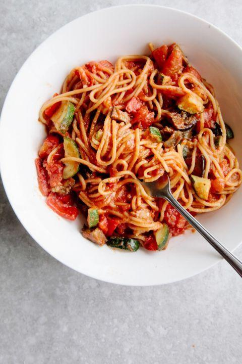 "<p>With vibrant colors and a mere 30-minute cook time, we think this vegan pasta dish would delight everyone come Easter Sunday. </p><p><a href=""http://wallflowerkitchen.com/one-pot-ratatouille-spaghetti-vegan-gf/"" rel=""nofollow noopener"" target=""_blank"" data-ylk=""slk:Get the recipe from Wallflower Kitchen »"" class=""link rapid-noclick-resp""><em>Get the recipe from Wallflower Kitchen »</em></a></p>"