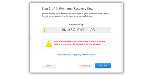 Window containing a recovery key
