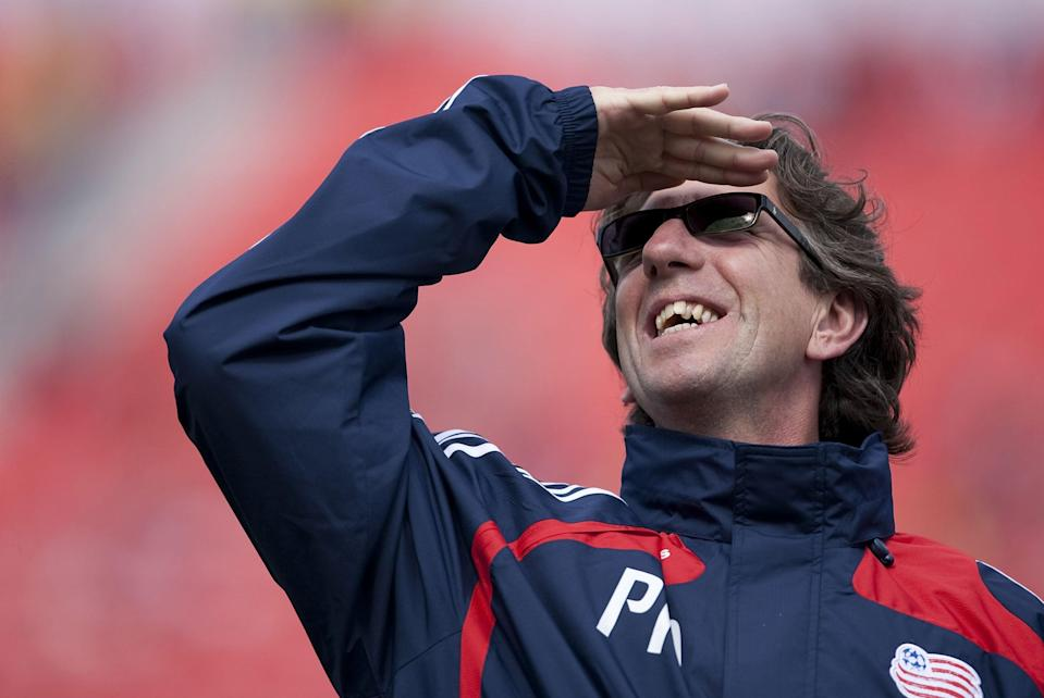 In 2009, as assistant manager at MLS club New England Revolution (Getty)