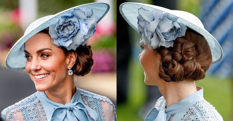 "<p>For <a href=""https://www.popsugar.com/celebrity/Royal-Family-Royal-Ascot-2019-Pictures-46282619"" class=""link rapid-noclick-resp"" rel=""nofollow noopener"" target=""_blank"" data-ylk=""slk:Royal Ascot"">Royal Ascot</a>, Kate Middleton wore her hair low and off to side, folding and pinning it into an intricate updo that sat tidily underneath her sky-blue Philip Treacy hat. </p>"