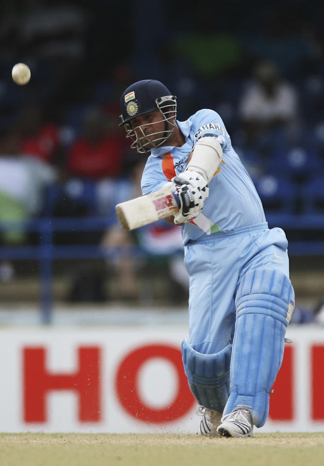 PORT OF SPAIN, TRINIDAD AND TOBAGO - MARCH 19:  Sachin Tendulkar of India hits a six during the ICC Cricket World Cup 2007 Group B match between Bermuda and India at the Queens Park Oval Cricket Ground on March 19, 2007 in Port of Spain, Trinidad.  (Photo by Clive Rose/Getty Images)