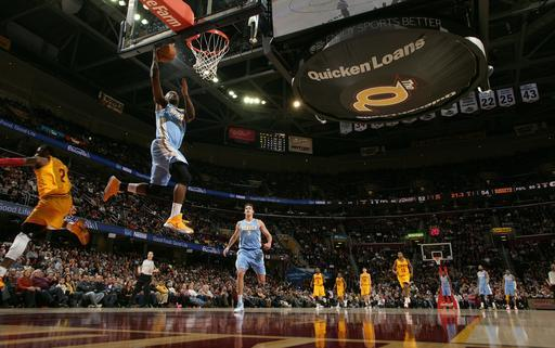 CLEVELAND, OH - FEBRUARY 9: Ty Lawson #3 of the Denver Nuggets goes up for the shot against Kyrie Irving #2 of the Cleveland Cavaliers at The Quicken Loans Arena on February 9, 2013 in Cleveland, Ohio. (Photo by David Liam Kyle/NBAE via Getty Images)