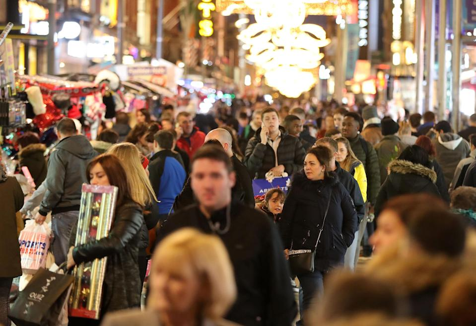 Christmas shoppers on one of Dublin's main shopping streets. Pic: PA
