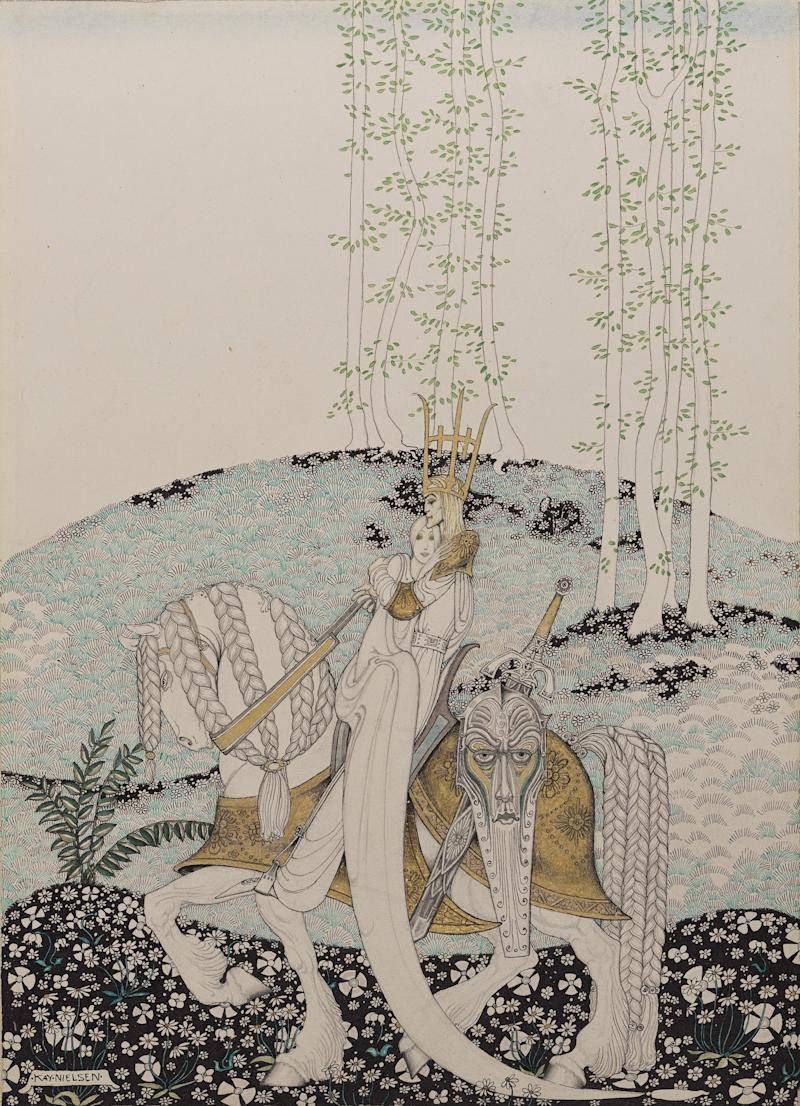 Illustration from East of the Sun and West of the Moon. Kay Nielsen, 1913–1914. Transparent watercolor, pen and ink, gesso and metallic paint, over graphite. Promised gift of Kendra and Allan Daniel.