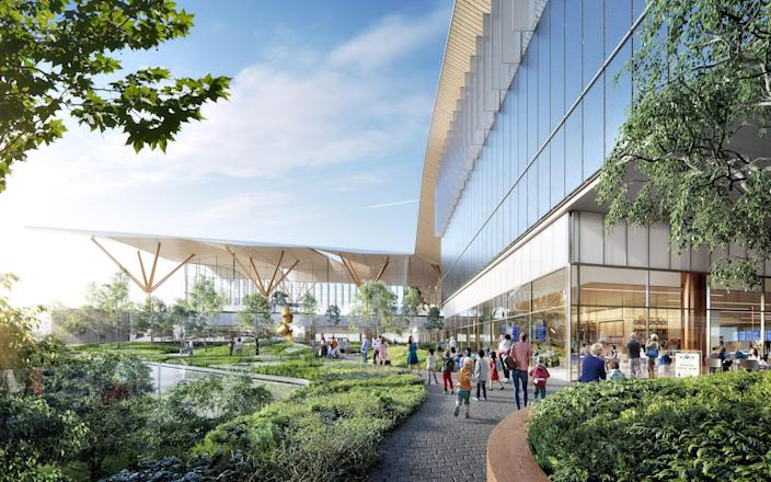 Pittsburgh's airport is getting a major upgrade thanks to architecture firms Gensler, HDR, and Luis Vidal. Slated for 2023, the 635-square-foot T-shaped terminal evokes a wave, with an undulating roof and rounded windows.