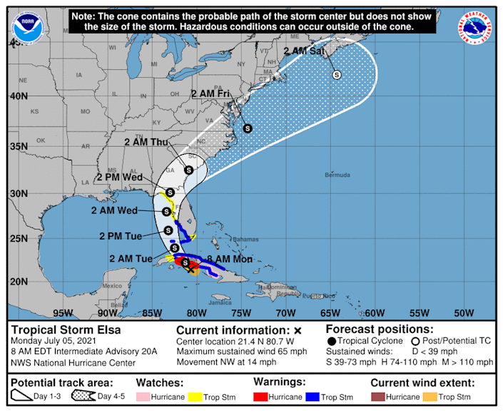 Tropical Storm Elsa's latest projected trajectory takes it slightly more west and farther from Florida's coast.
