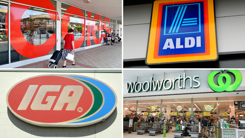 Pictured: Supermarkets Coles, Aldi, Woolworths and IGA. Images: AAP
