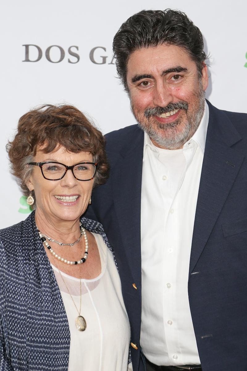 "Jill Gascoine (L) and husband Alfred Molina attend ""A Night of Wonders"" at Dos Gallos Antiques on June 6, 2013 in Los Angeles, California. (Photo by Chelsea Lauren/WireImage)"
