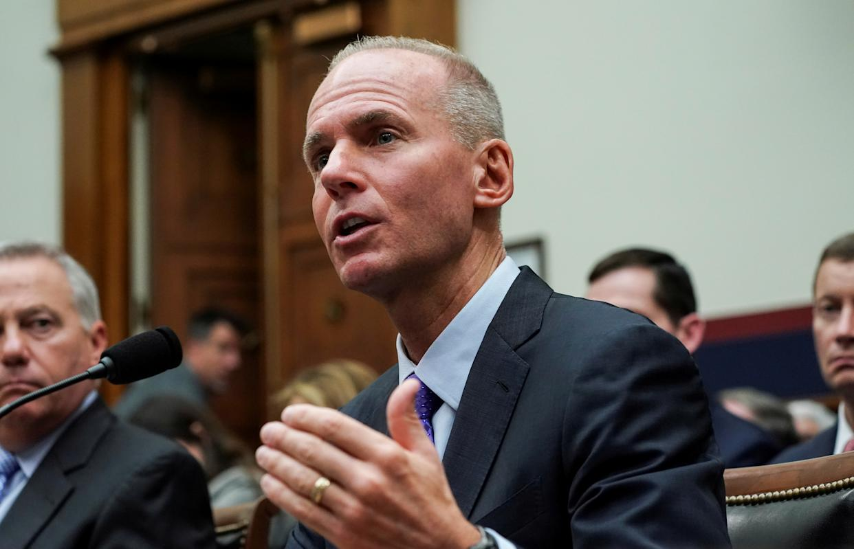 Boeing Chief Executive Dennis Muilenburg testifies before the House Transportation and Infrastructure Committee during a hearing on the grounded 737 MAX in the wake of deadly crashes, on Capitol Hill in Washington, U.S., October 30, 2019. REUTERS/Sarah Silbiger