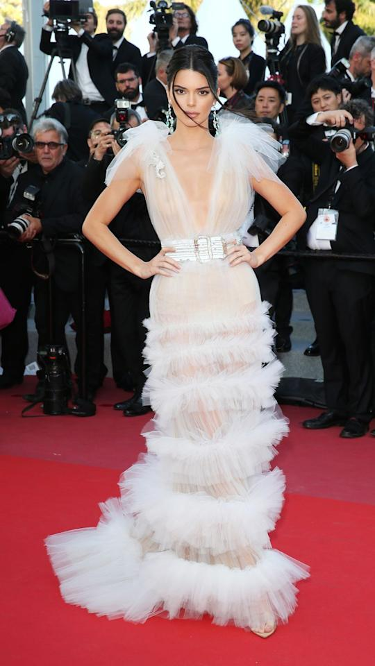 """<p>Kendall's <a rel=""""nofollow"""" href=""""https://www.cosmopolitan.com/uk/fashion/a20678044/kendall-jenner-wore-an-insanely-beautiful-dress-in-cannes/"""">heavenly tulle gown</a> was completely sheer from the belt up.</p>"""
