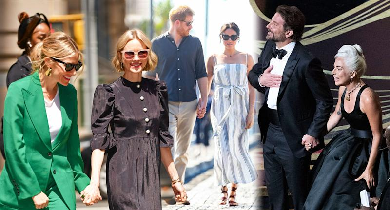 (From left to right) Sienna Miller and Naomi Watts; the Duke and Duchess of Sussex; Bradley Cooper and Lady Gaga. [Photo: Getty]