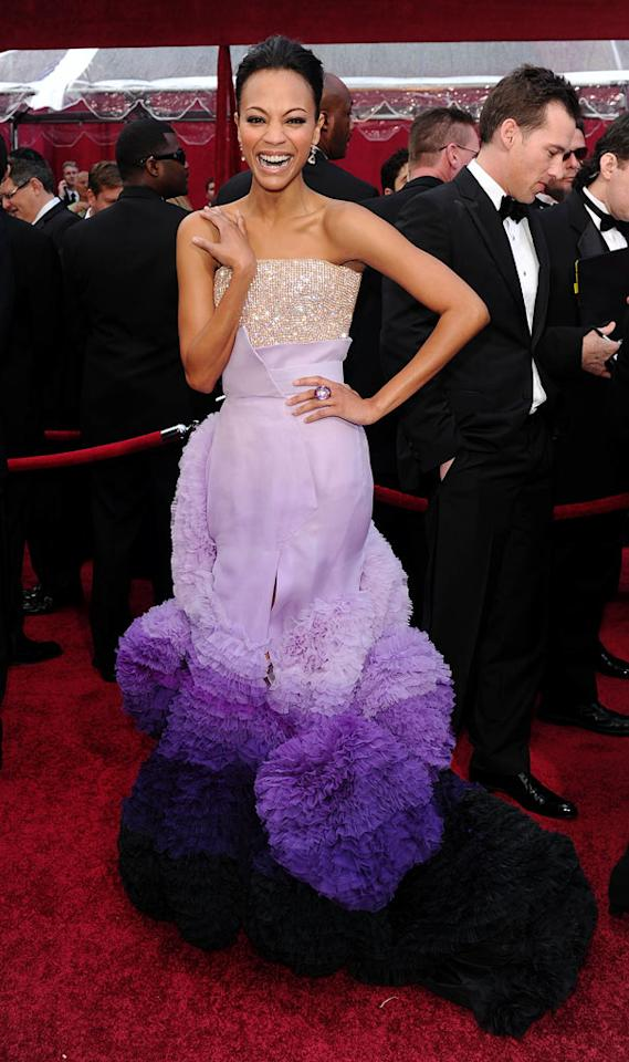 Zoe Saldana arrives at the 82nd Annual Academy Awards held at Kodak Theatre on March 7, 2010 in Hollywood, California.