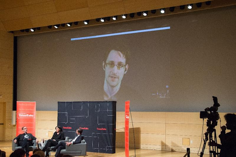 "Legislation ending the US government's bulk collection of phone data is ""a historic victory for the rights of every citizen,"" former intelligence analyst Edward Snowden, pictured onscreen during the TimesTalks at The New School, says in a commentary (AFP Photo/Mark Sagliocco)"