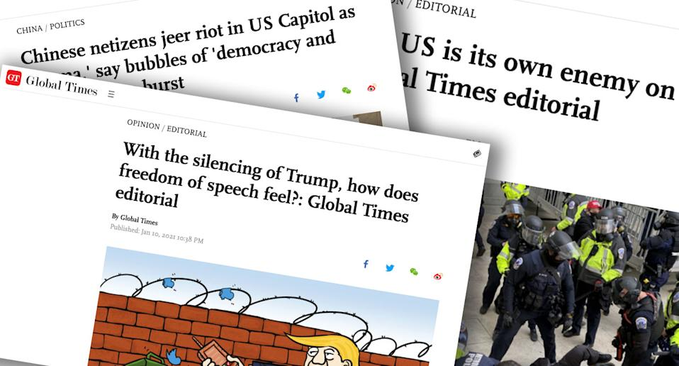 Pictured are headlines from the Global Times, one of them reads: 'With the silencing of Trump, how does freedom of speech feel?: Global Times Editorial'