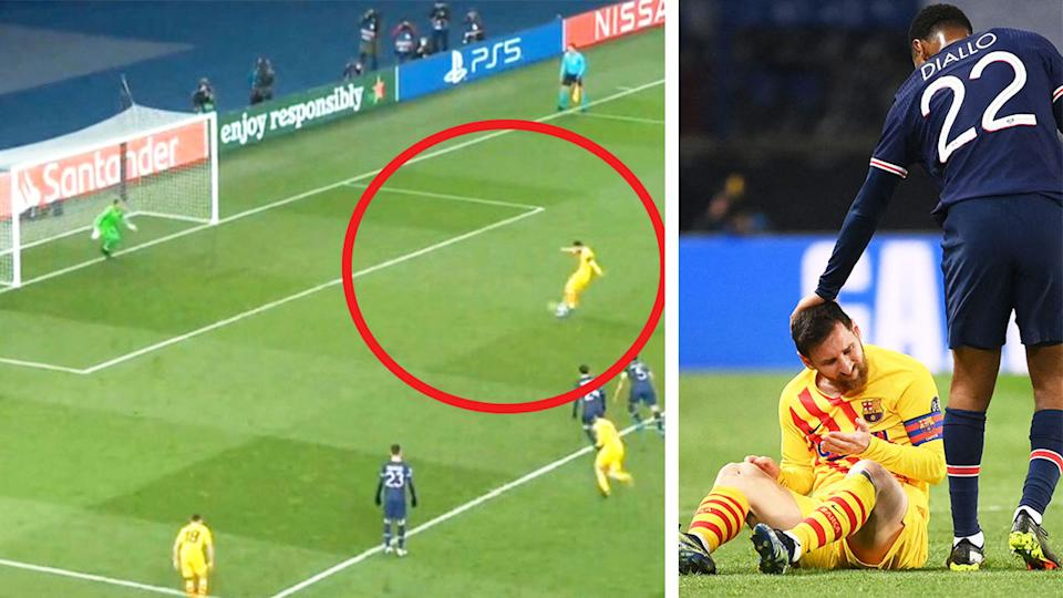 Lionel Messi (pictured right) frustrated on the ground and (pictured left) missing a penalty.
