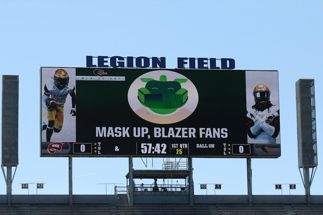 BIRMINGHAM, AL - OCTOBER 17: UAB encourages fans to wear masks during the game between UAB Blazers and Western Kentucky Hilltoppers on October 17, 2020 at Legion Field in Birmingham, Alabama.  (Photo by Michael Wade/Icon Sportswire via Getty Images)