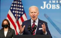 FILE PHOTO: President Biden speaks about jobs and the economy from the White House in Washington