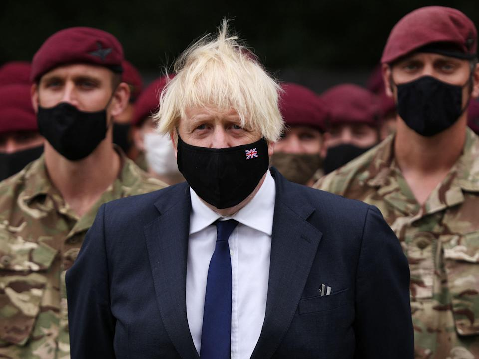 Johnson visits Merville Barracks in Colchester last week to meet members of the 16th Air Assault Brigade involved in the UK operation in Afghanistan (POOL/AFP via Getty Images)