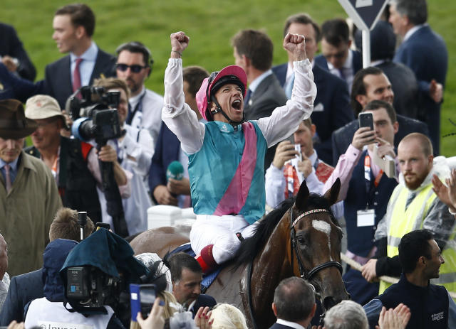 Britain Horse Racing - Derby Festival - Epsom Racecourse - June 2, 2017 Frankie Dettori on Enable celebrates winning the 4.30 Investec Oaks Reuters / Peter Nicholls Livepic EDITORIAL USE ONLY.