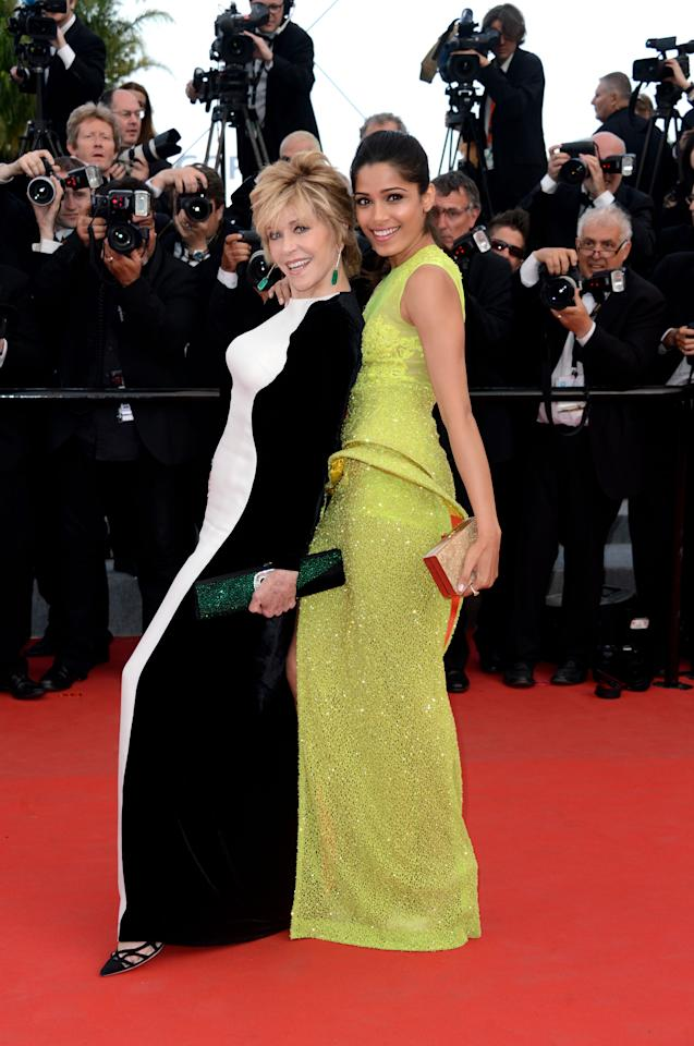 "CANNES, FRANCE - MAY 17:  Actresses Jane Fonda & Frieda Pinto attend the ""De Rouille et D'os"" Premiere during the 65th Annual Cannes Film Festival at Palais des Festivals on May 17, 2012 in Cannes, France.  (Photo by Pascal Le Segretain/Getty Images)"