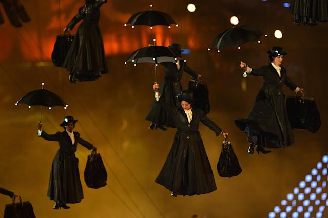 Actors dressed as Mary Poppins perform during the opening ceremony of the London 2012 Olympic Games. (Getty)