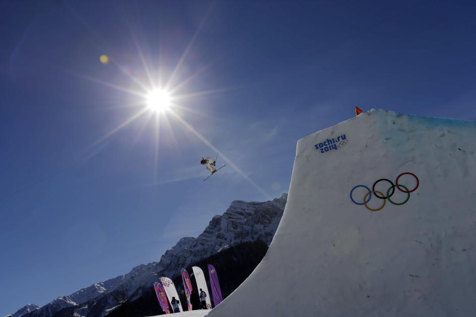 Sweden's Henrik Harlaut takes a jump during men's ski slopestyle training at the Rosa Khutor Extreme Park, at the 2014 Winter Olympics, Wednesday, Feb. 12, 2014, in Krasnaya Polyana, Russia. (AP Photo/Andy Wong)
