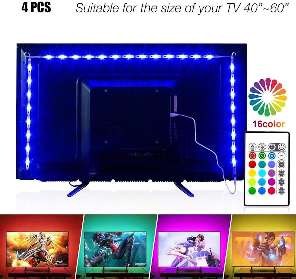 <p>Put these fun <span>Led Strip Lights </span> ($14) on the back of your tv to set the mood.</p>
