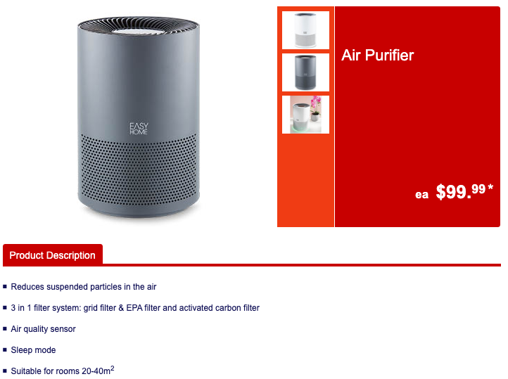 Aldi's $99.99 air purifier shown in its catalogue.