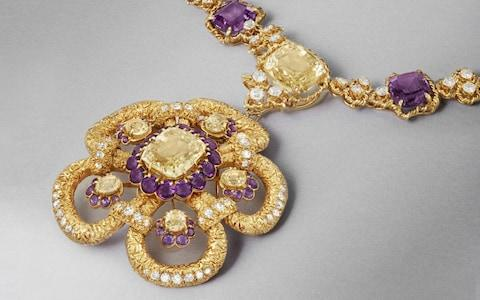 Yellow gold, pink gold, white gold, yellow sapphire, amethyst and diamond necklace with detachable clip, signed Van Cleef & Arpels, New York, 1965