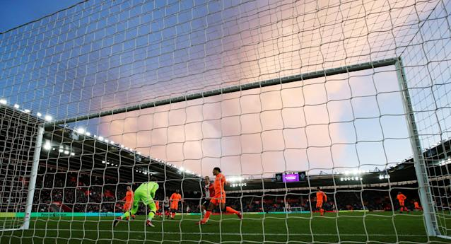 "Soccer Football - Premier League - Southampton vs Liverpool - St Mary's Stadium, Southampton, Britain - February 11, 2018 General view of the sky and Liverpool's Loris Karius in action Action Images via Reuters/Peter Cziborra EDITORIAL USE ONLY. No use with unauthorized audio, video, data, fixture lists, club/league logos or ""live"" services. Online in-match use limited to 75 images, no video emulation. No use in betting, games or single club/league/player publications. Please contact your account representative for further details."