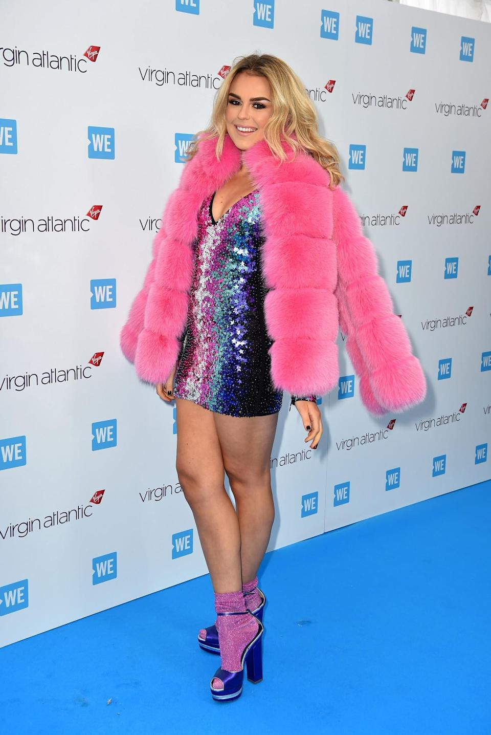 <p>Tallia was unfortunately a bit of a fluffy nightmare in a pink fur coat and sequinned minidress by DSquared2.<br><i>[Photo: PA]</i> </p>