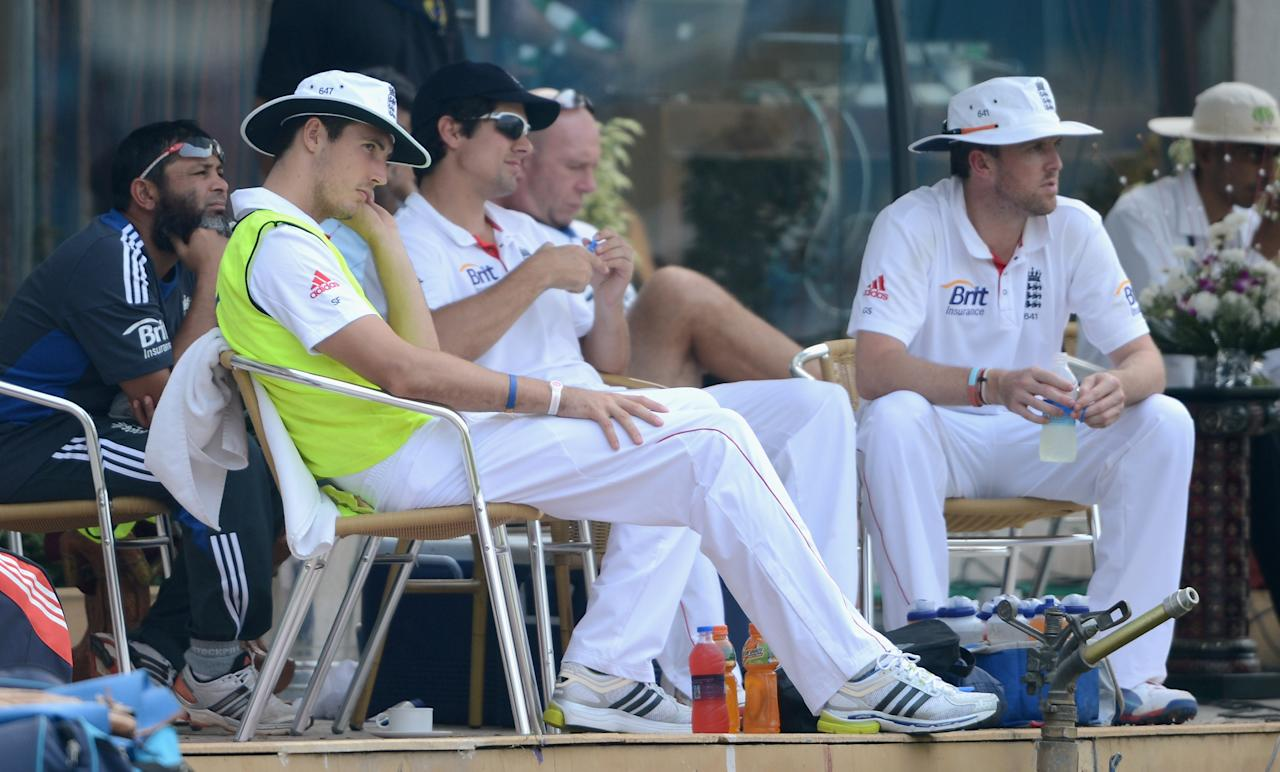 MUMBAI, INDIA - NOVEMBER 04:  Steven Finn of England watches play during day two of the tour match between Mumbai A and England at The Dr D.Y. Palit Sports Stadium on November 4, 2012 in Mumbai, India.  (Photo by Gareth Copley/Getty Images)