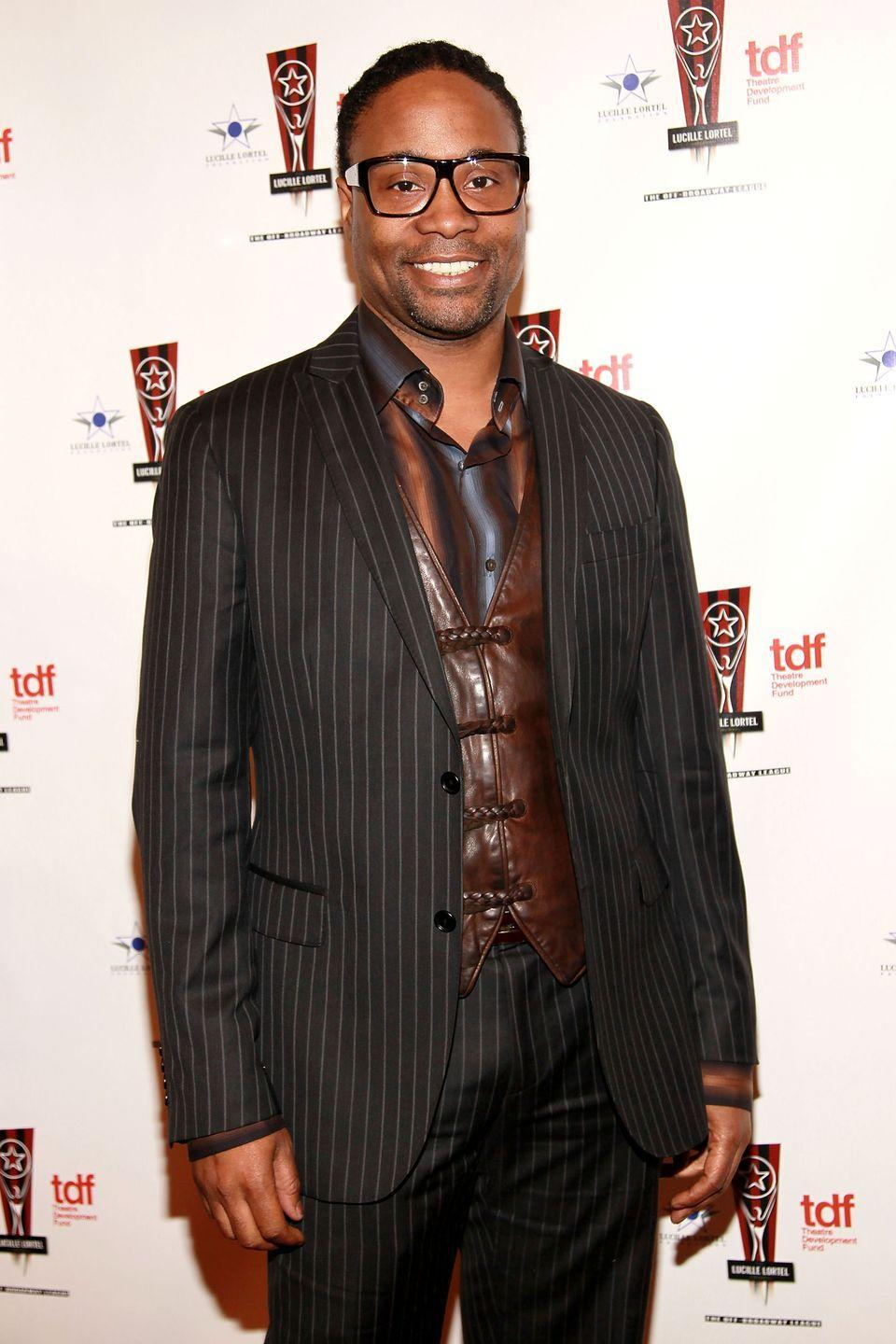 <p>Porter at the 26th annual Lucille Lortel Awards in a black pinstripe suit and brown leather vest. </p>