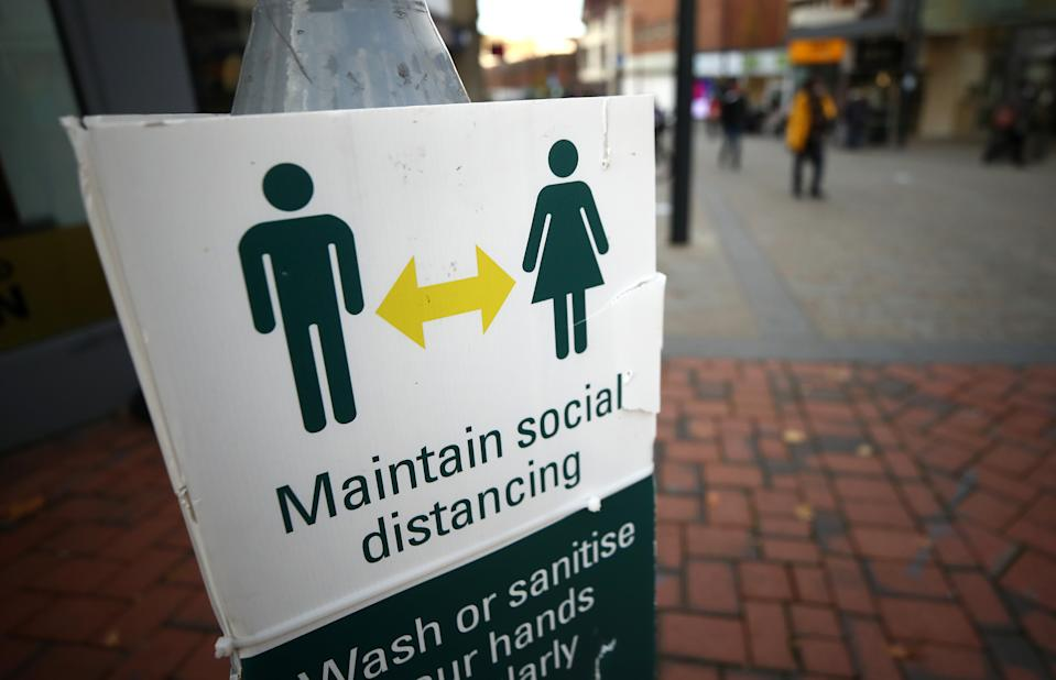 A social distancing sign in Derby city centre, ahead of a national lockdown for England from Thursday. (Photo by Tim Goode/PA Images via Getty Images)