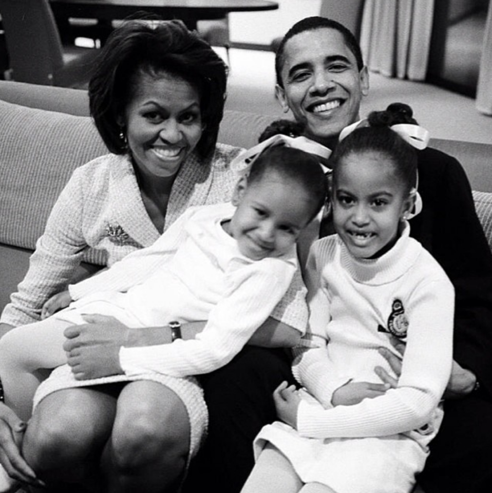 <p>By 2004 the couple had welcomed two beautiful girls, Malia and Sasha Obama. <em>[Photo: Michelle Obama/ Instagram]</em> </p>