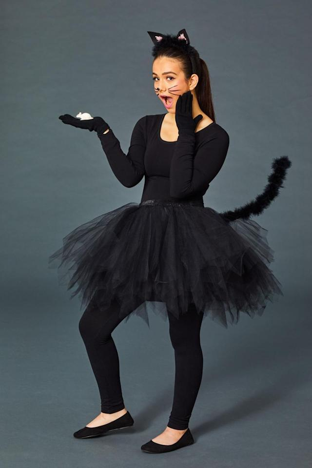 "<p>You only need a few items to put together this cute and quirky cat costume! Pair an all-black outfit with a black tutu and gloves, then add accessories like a tail (made by attaching a <a href=""https://www.amazon.com/Cynthias-Feathers-Chandelle-Feather-Patterns/dp/B01DE5J4E0"" target=""_blank"">feathery black boa </a>to pipe cleaners or wire) and a pair of cat ears (which you can buy or DIY by attaching felt to a headband). </p><p><strong><a class=""body-btn-link"" href=""https://www.amazon.com/TRADERPLUS-Vintage-Petticoat-Occasion-Accessory/dp/B01N222MYO/?tag=syn-yahoo-20&ascsubtag=%5Bartid%7C10055.g.21931993%5Bsrc%7Cyahoo-us"" target=""_blank"">SHOP TUTUS</a></strong></p><p><strong>RELATED:</strong> <a href=""https://www.goodhousekeeping.com/holidays/halloween-ideas/a24184841/diy-cat-costume/"" target=""_blank"">10+ Easiest DIY Cat Costumes Ever</a></p>"