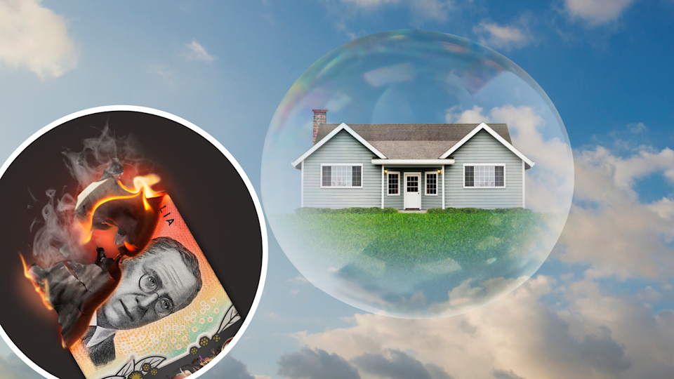 Image of house in a bubble, burning money