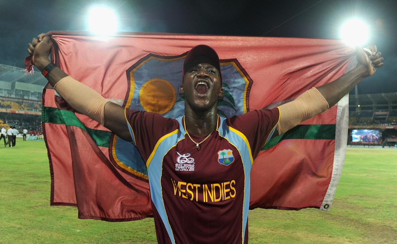 COLOMBO, SRI LANKA - OCTOBER 07:  West Indies captain Darren Sammy celebrates winning the ICC World Twenty20 2012 Final between Sri Lanka and the West Indies at R. Premadasa Stadium on October 7, 2012 in Colombo, Sri Lanka.  (Photo by Gareth Copley/Getty Images)