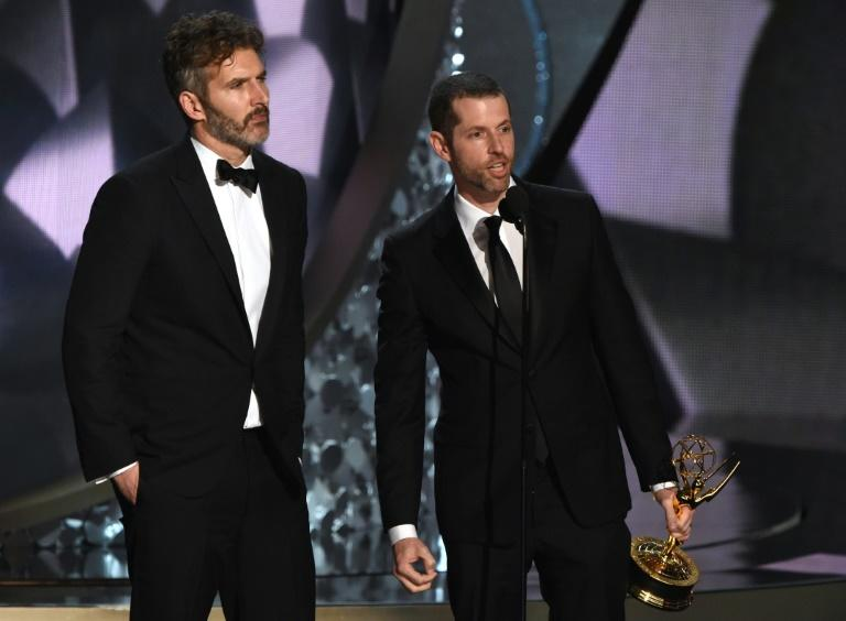 """""""Game of Thrones"""" co-creators David Benioff (L) and D.B. Weiss -- shown here at the Emmys in 2016 -- are developing new """"Star Wars"""" content"""