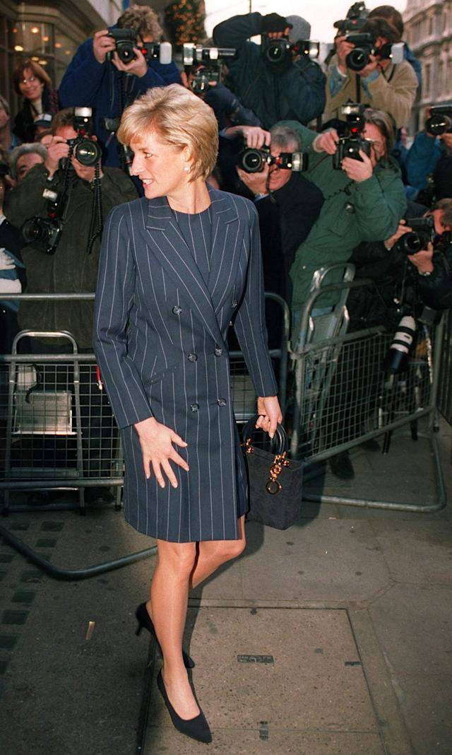 <p>In later years, menswear for women became less fussy and overtly feminine. Diana led the way here as well. (Photo: Tim Graham/Getty Images) </p>