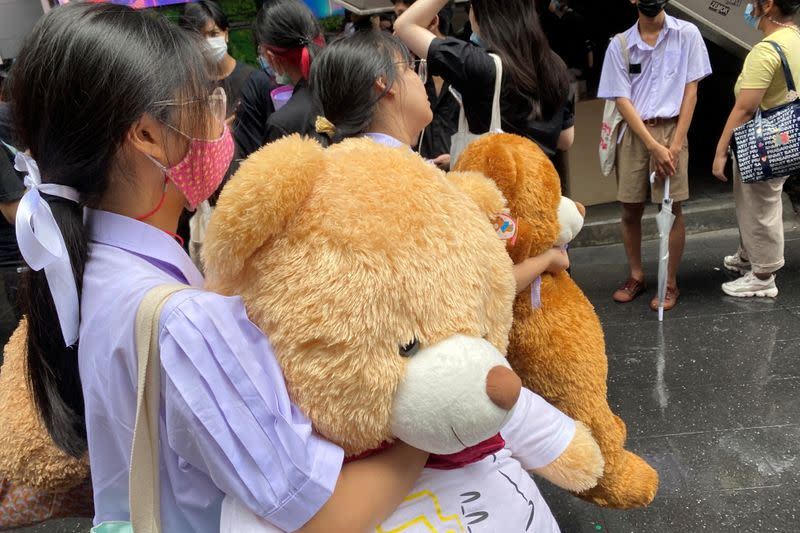 Thai high school protesters bring teddy bears to a protest against the government and to demand education reform in Bangkok