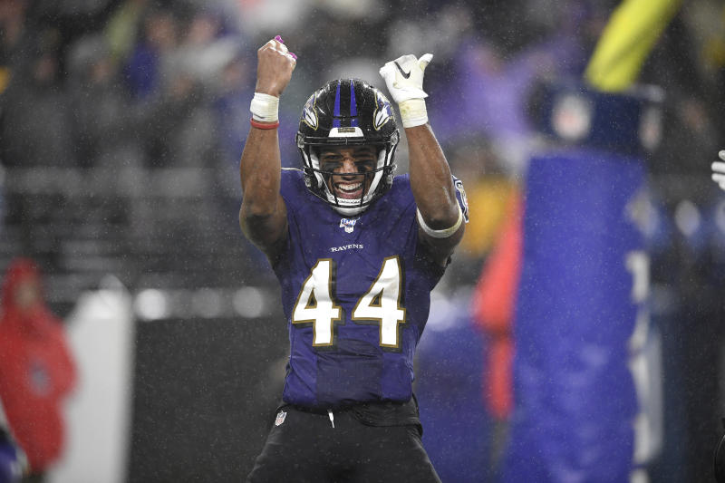 Baltimore Ravens cornerback Marlon Humphrey reacts after the Ravens scored a safety against the Pittsburgh Steelers during the second half of an NFL football game, Sunday, Dec. 29, 2019, in Baltimore. The Ravens won 28-10. (AP Photo/Nick Wass)