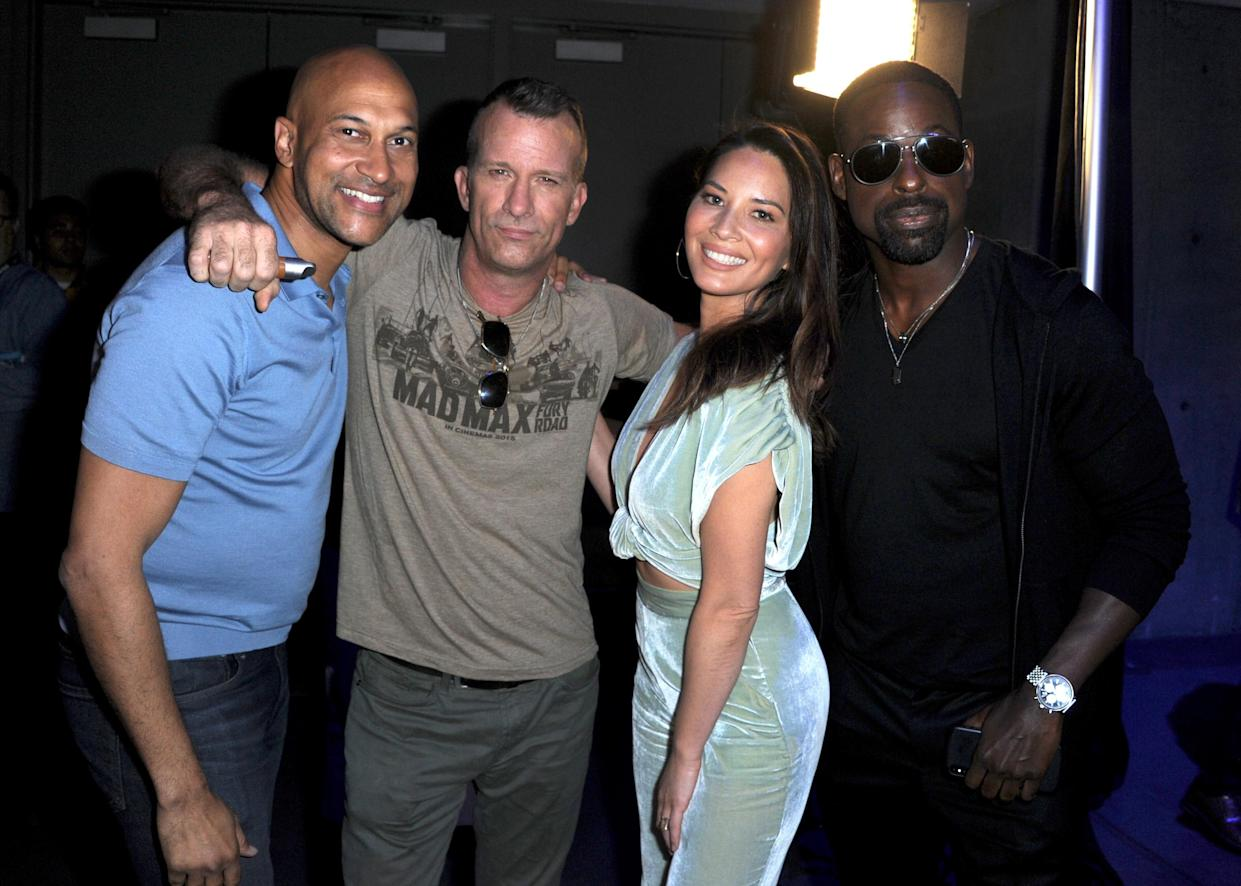 Olivia Munn promotes <i>The Predator</i> alongside, from left, co-stars Keegan Michael-Key, Thomas Jane, and Sterling K. Brown in July. (Photo: Albert L. Ortega/Getty Images)